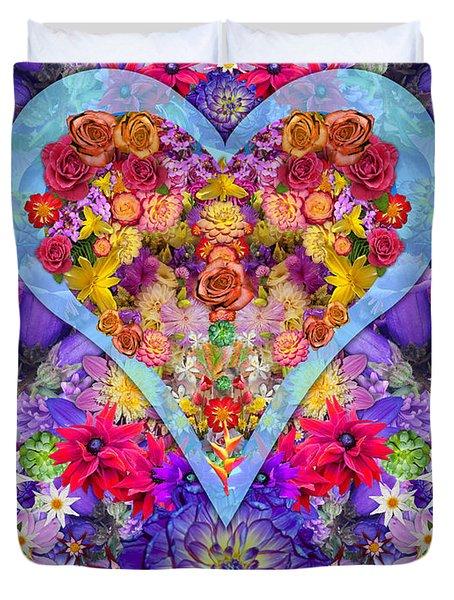 Wild Flower Heart Duvet Cover by Alixandra Mullins