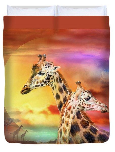 Wild Generations - Giraffes  Duvet Cover by Carol Cavalaris