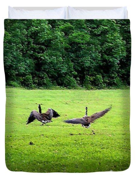 Wild Goose Chase Duvet Cover by Kristin Elmquist