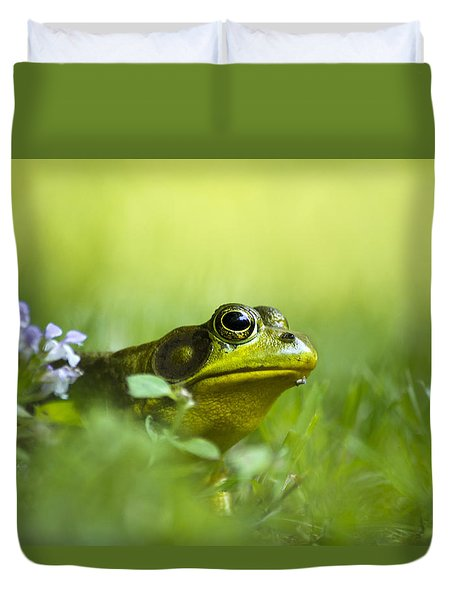Wild Green Frog Duvet Cover by Christina Rollo