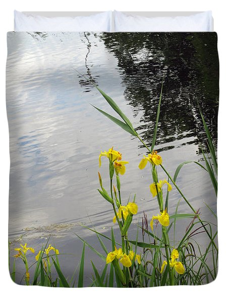 Wild Iris By The Pond Duvet Cover by Ausra Paulauskaite