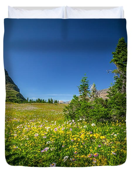 Wild Mountain Flowers Glacier National Park   Duvet Cover by Rich Franco