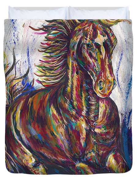 Wild Mustang Duvet Cover by Lovejoy Creations