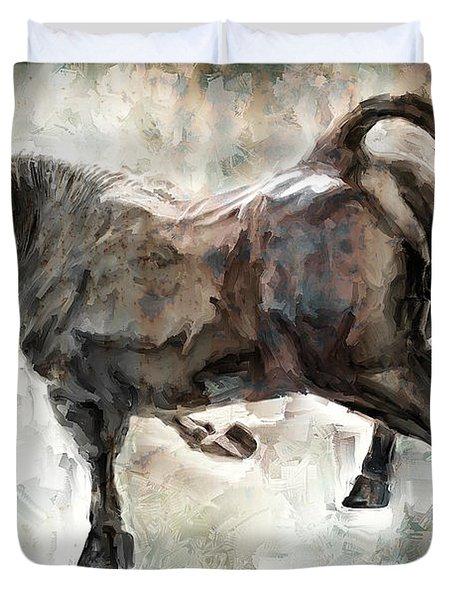 Wild Raging Bull Duvet Cover by Daniel Hagerman