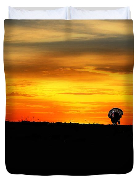 Wild Turkey At Sunset Duvet Cover by Dan Friend