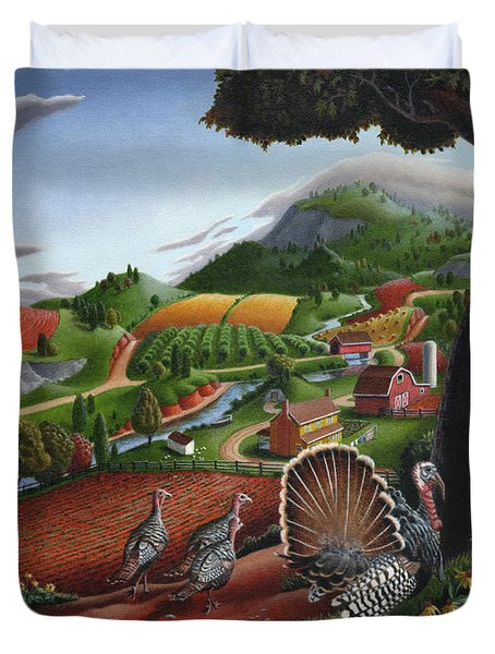 Wild Turkeys Appalachian Thanksgiving Landscape - Childhood Memories - Country Life - Americana Duvet Cover by Walt Curlee