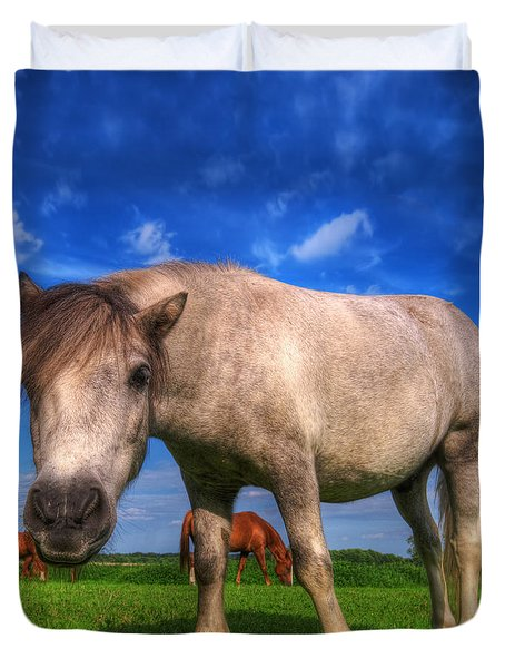 Wild Young Horse On The Field Duvet Cover by Michal Bednarek