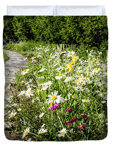 Wildflower garden and path to gazebo Duvet Cover by Elena Elisseeva