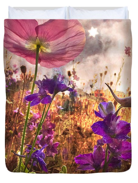 Wildflowers At Dawn Duvet Cover by Debra and Dave Vanderlaan