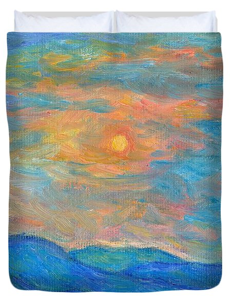 Wildflowers By A Blue Ridge Sunset Duvet Cover by Kendall Kessler