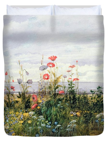 Wildflowers With A View Of Dublin Dunleary Duvet Cover by A Nicholl