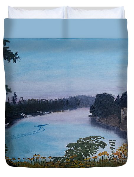 Willamette River Oregon Duvet Cover by Ian Donley