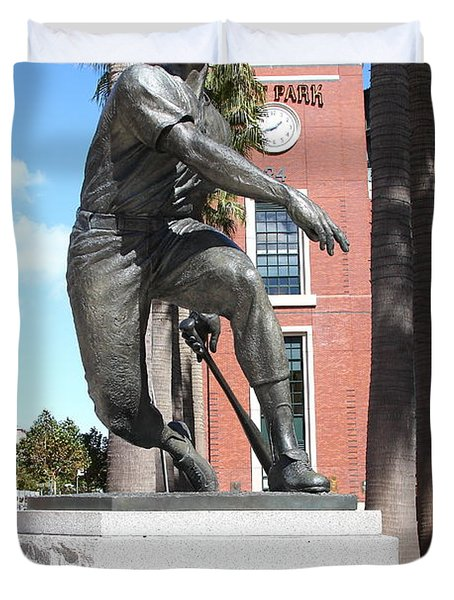 Willie Mays at San Francisco Giants ATT Park . 7D7636 Duvet Cover by Wingsdomain Art and Photography
