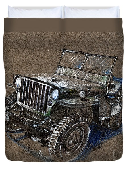Willys Car Drawing Duvet Cover by Daliana Pacuraru
