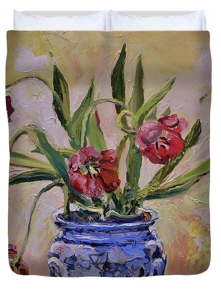 Wilting Tulips Duvet Cover by Donna Tuten