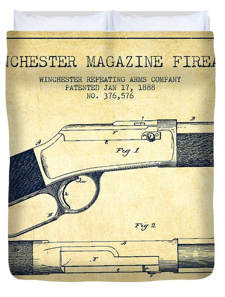 Winchester Firearm Patent Drawing From 1888- Vintage Duvet Cover by Aged Pixel