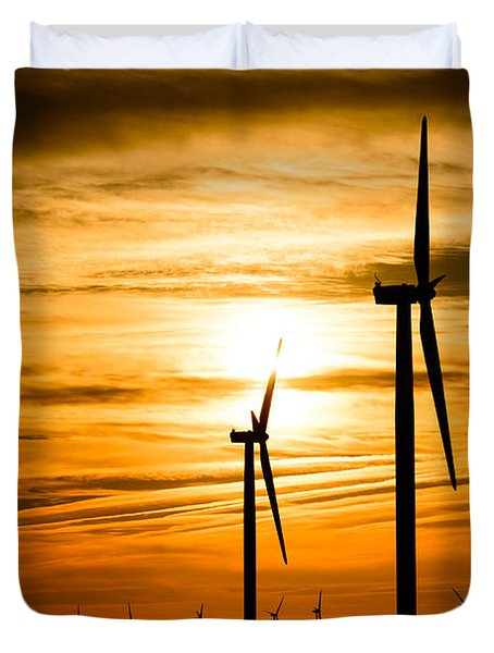Wind Turbine Farm Picture Indiana Sunrise Duvet Cover by Paul Velgos
