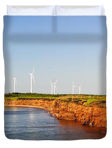 Wind Turbines On Atlantic Coast Duvet Cover by Elena Elisseeva