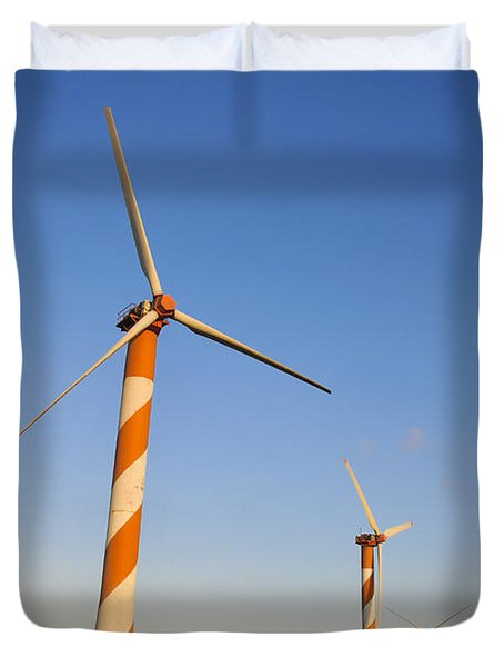Wind turbines  Duvet Cover by Shay Levy