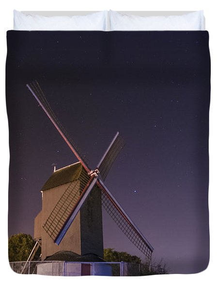 Windmill At Night Duvet Cover by Juli Scalzi