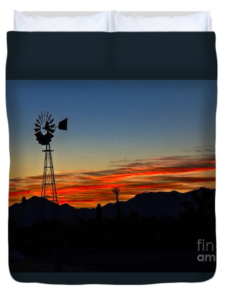Windmill Silhouette Duvet Cover by Robert Bales