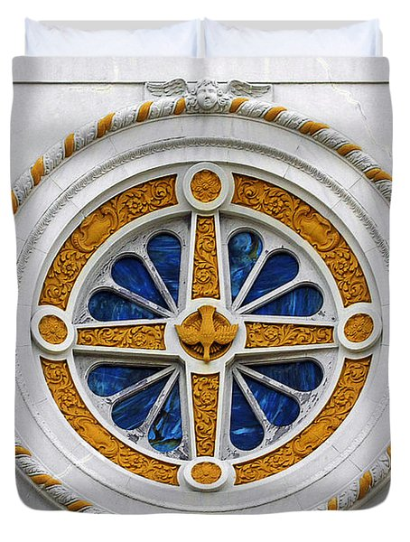 Window St Mary's Church New Orleans Duvet Cover by Christine Till