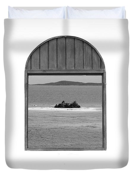 Window View of Desert Island Puerto Rico Prints Black and White Duvet Cover by Shawn O'Brien