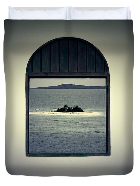Window View Of Desert Island Puerto Rico Prints Lomography Duvet Cover by Shawn O'Brien