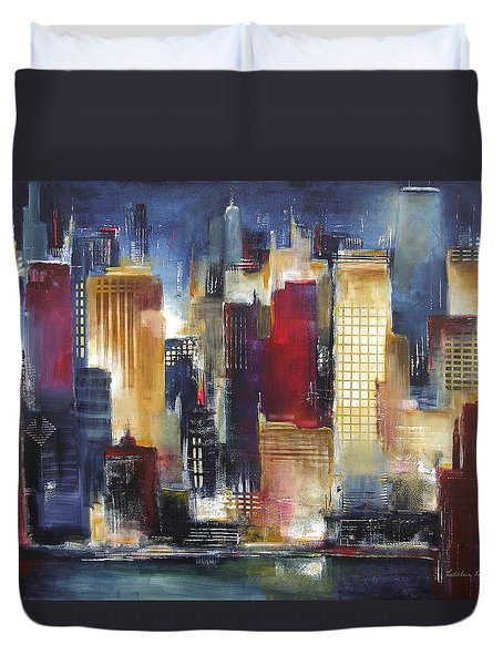 Windy City Nights Duvet Cover by Kathleen Patrick