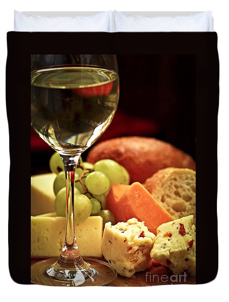 Wine And Cheese Duvet Cover by Elena Elisseeva