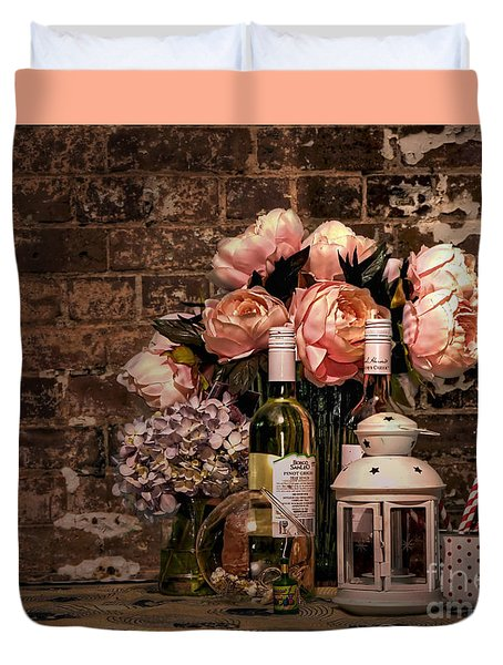 Wine And Roses Duvet Cover by Kaye Menner