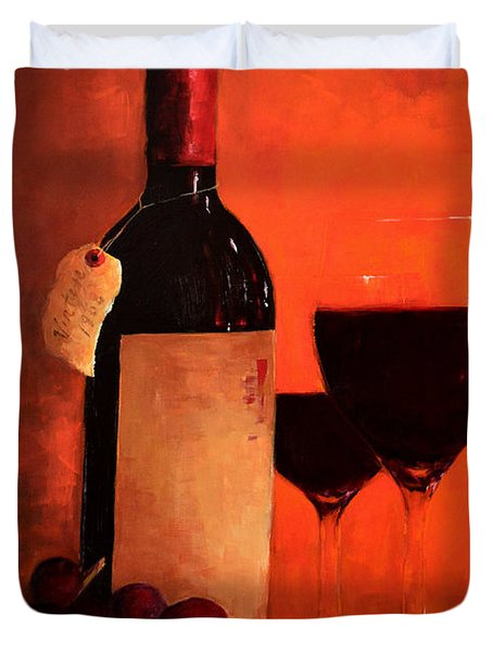 Wine Bottle  Duvet Cover by Patricia Awapara