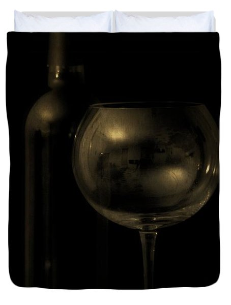 Wine Bottle Still Life Deep Red Duvet Cover by Edward Fielding