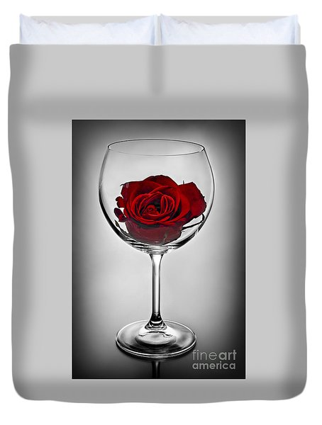 Wine glass with rose Duvet Cover by Elena Elisseeva