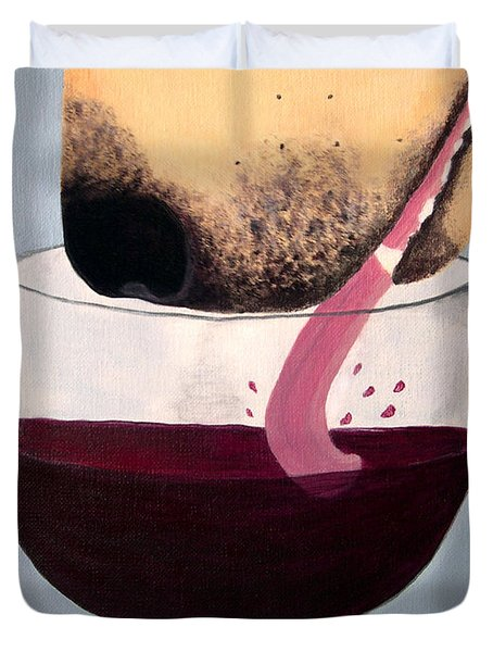 Wine Is Best Shared With Friends - Yellow Dog Duvet Cover by Amy Reges