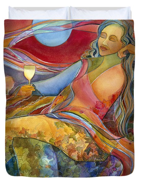 Wine Woman and Song Duvet Cover by Jen Norton