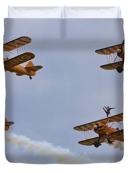 Wingwalkers  Perfect Sync Duvet Cover by Maj Seda