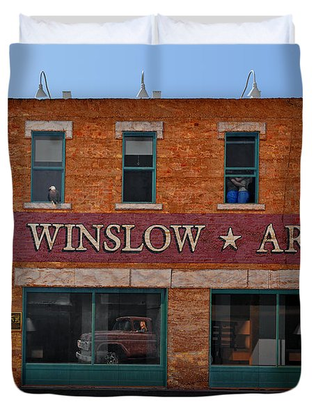 Winslow Arizona On Route 66 Duvet Cover by Christine Till