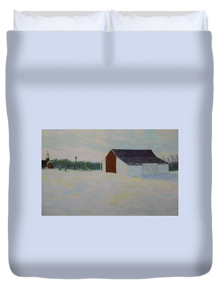 Winter At Mcphersons Barn Gettysburg Duvet Cover by Joann Renner