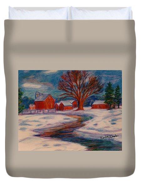 Winter Barn Scene Duvet Cover by Kendall Kessler