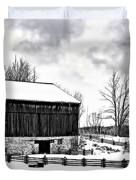 Winter Barn Duvet Cover by Steve Harrington