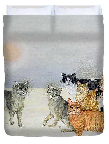 Winter Cats Duvet Cover by Ditz