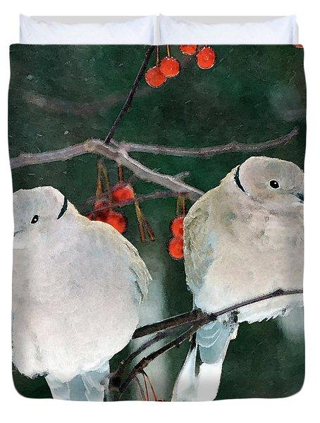 Winter Doves Duvet Cover by Betty LaRue