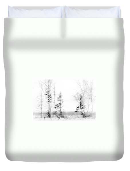 Winter Drawing Duvet Cover by Jenny Rainbow