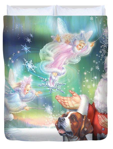 Winter Fairies Duvet Cover by Zorina Baldescu
