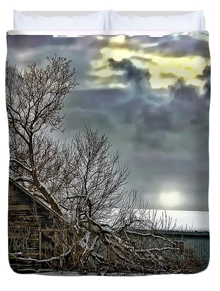 Winter Farm Polaroid Transfer Duvet Cover by Steve Harrington