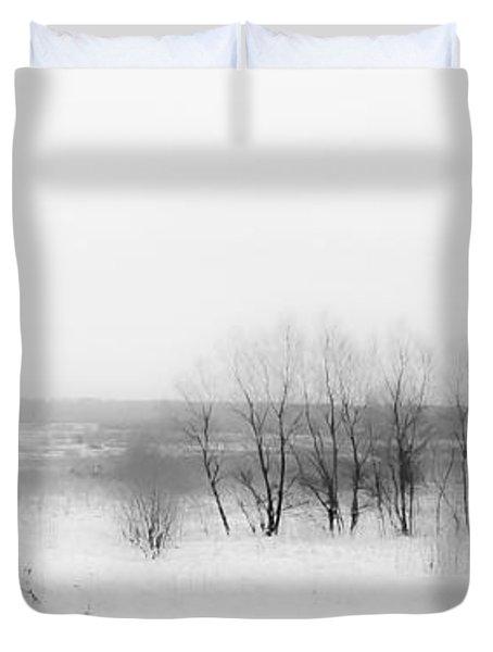 Winter Fields. Monochromatic  Duvet Cover by Jenny Rainbow