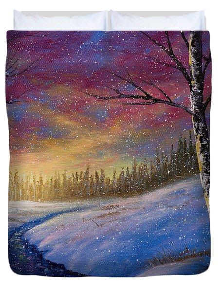 Winter Flurries Duvet Cover by C Steele