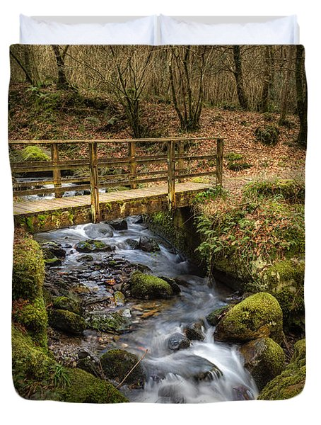 Winter Footbridge Duvet Cover by Adrian Evans