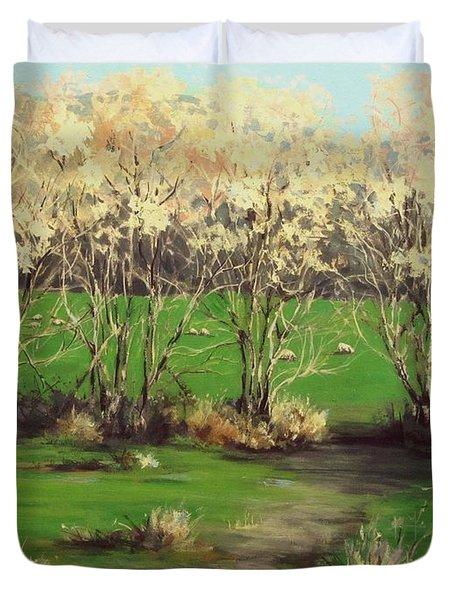 Winter Greens Duvet Cover by Karen Ilari